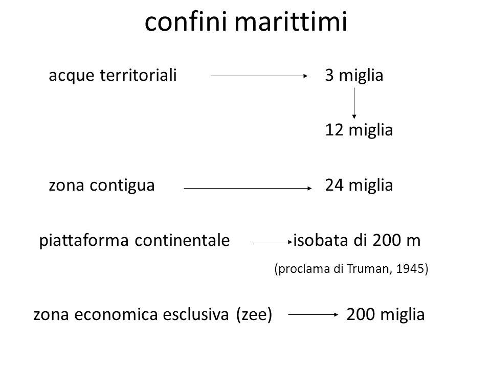 confini marittimi acque territoriali3 miglia 12 miglia zona contigua24 miglia piattaforma continentale isobata di 200 m (proclama di Truman, 1945) zon