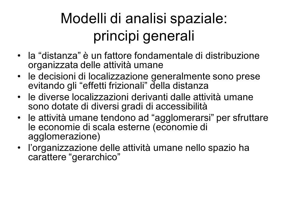 Modelli di analisi spaziale: principi generali la distanza è un fattore fondamentale di distribuzione organizzata delle attività umane le decisioni di