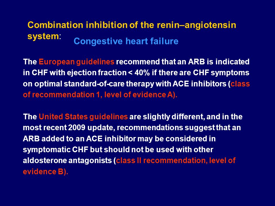 The European guidelines recommend that an ARB is indicated in CHF with ejection fraction < 40% if there are CHF symptoms on optimal standard-of-care t