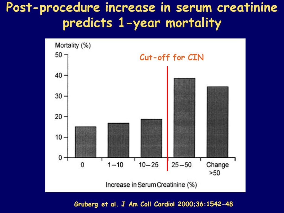 Post-procedure increase in serum creatinine predicts 1-year mortality Cut-off for CIN Gruberg et al. J Am Coll Cardiol 2000;36:1542-48