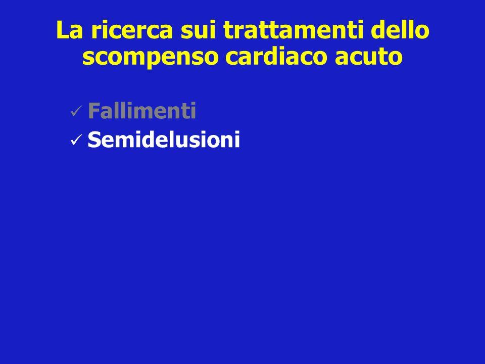 La ricerca sui trattamenti dello scompenso cardiaco acuto Fallimenti Semidelusioni