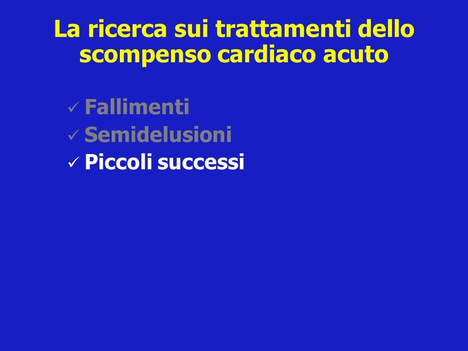 La ricerca sui trattamenti dello scompenso cardiaco acuto Fallimenti Semidelusioni Piccoli successi