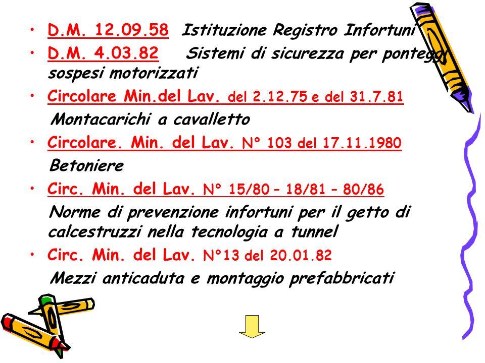 D.M.12.09.58 Istituzione Registro Infortuni D.M.