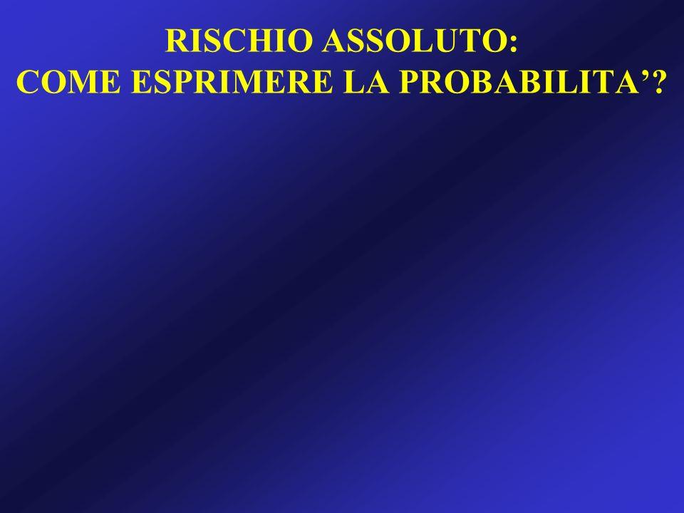 RISCHIO ASSOLUTO: COME ESPRIMERE LA PROBABILITA
