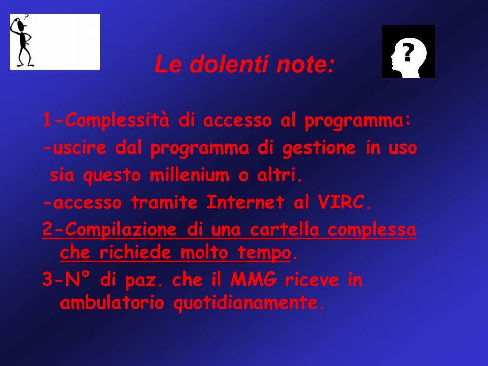 Le dolenti note: 1-Complessità di accesso al programma: -uscire dal programma di gestione in uso sia questo millenium o altri.