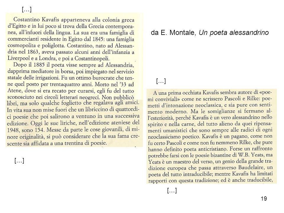 19 […] da E. Montale, Un poeta alessandrino