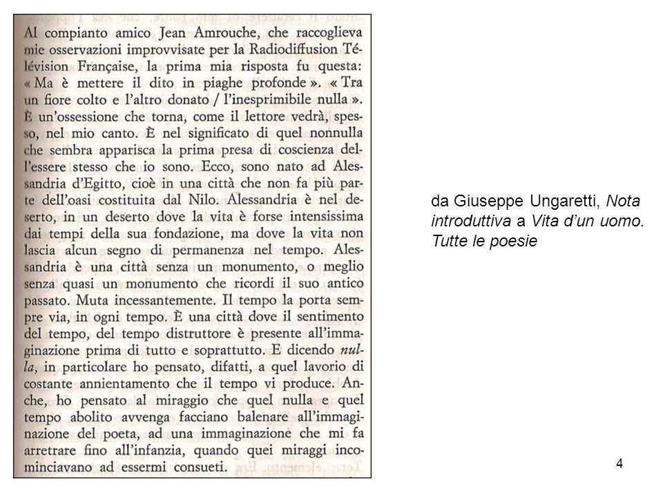 4 da Giuseppe Ungaretti, Nota introduttiva a Vita dun uomo. Tutte le poesie