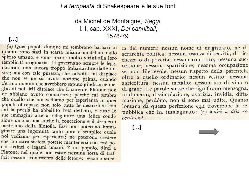 La tempesta di Shakespeare e le sue fonti da Michel de Montaigne, Saggi, l.
