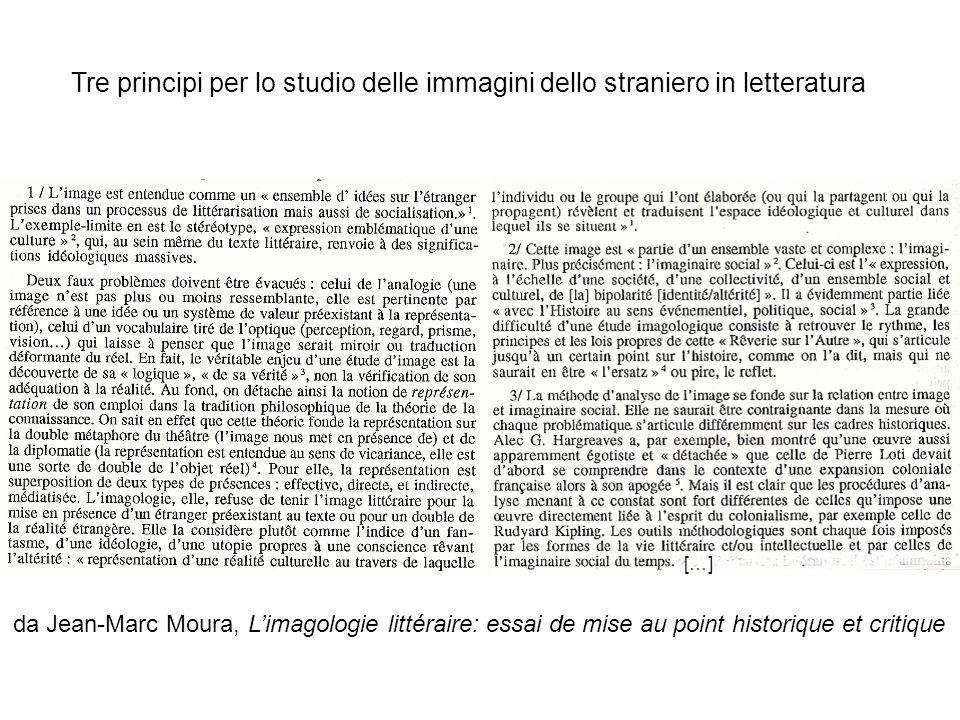 Tre principi per lo studio delle immagini dello straniero in letteratura […] da Jean-Marc Moura, Limagologie littéraire: essai de mise au point historique et critique