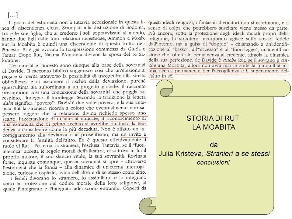 STORIA DI RUT LA MOABITA da Julia Kristeva, Stranieri a se stessi conclusioni […]