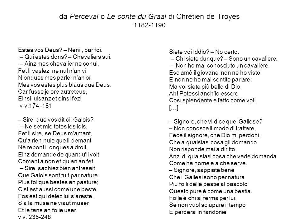 da Perceval o Le conte du Graal di Chrétien de Troyes 1182-1190 Estes vos Deus.