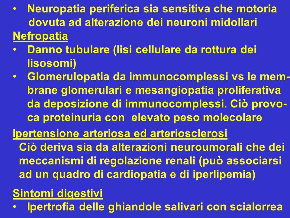 Neuropatia periferica sia sensitiva che motoria dovuta ad alterazione dei neuroni midollari Nefropatia Danno tubulare (lisi cellulare da rottura dei l
