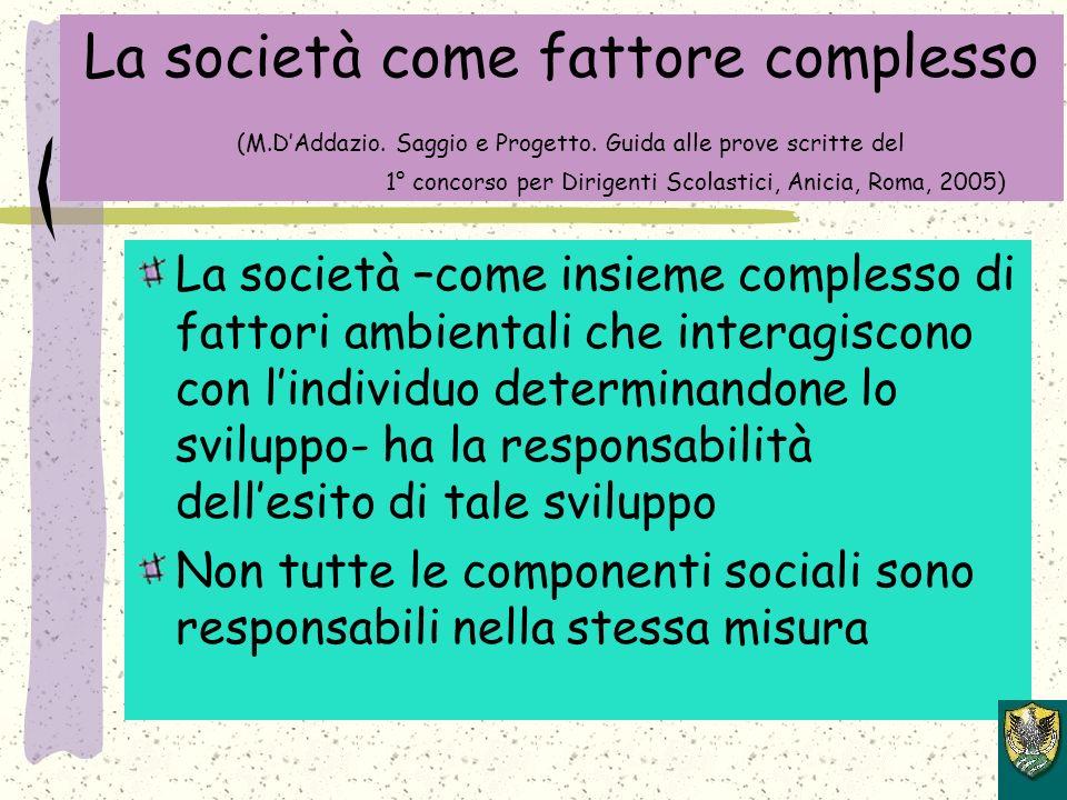 La società come fattore complesso (M.DAddazio.Saggio e Progetto.