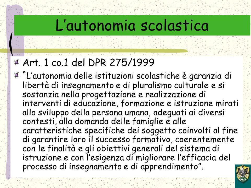 Lautonomia scolastica Art.