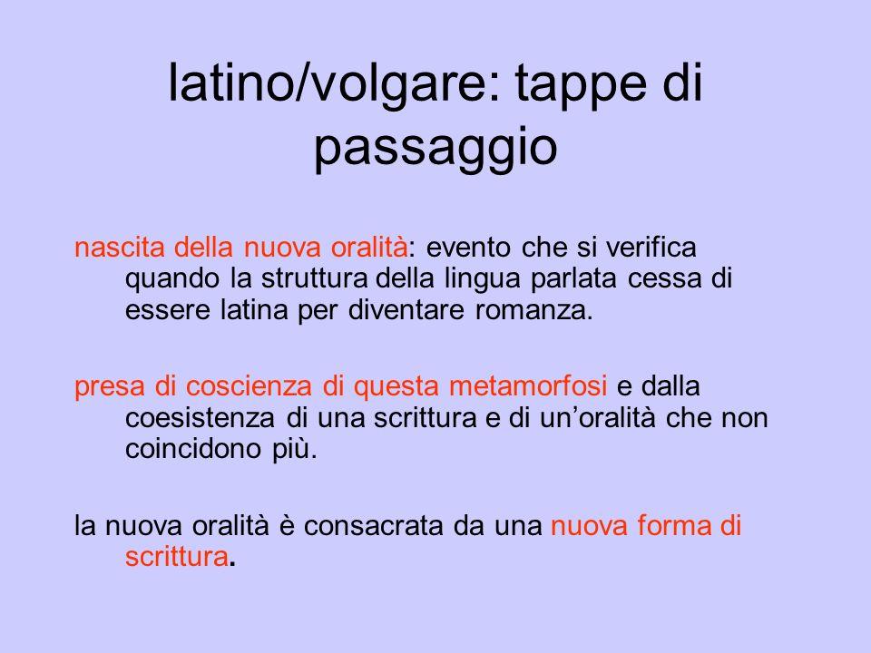 latino/volgare: tappe di passaggio nascita della nuova oralità: evento che si verifica quando la struttura della lingua parlata cessa di essere latina