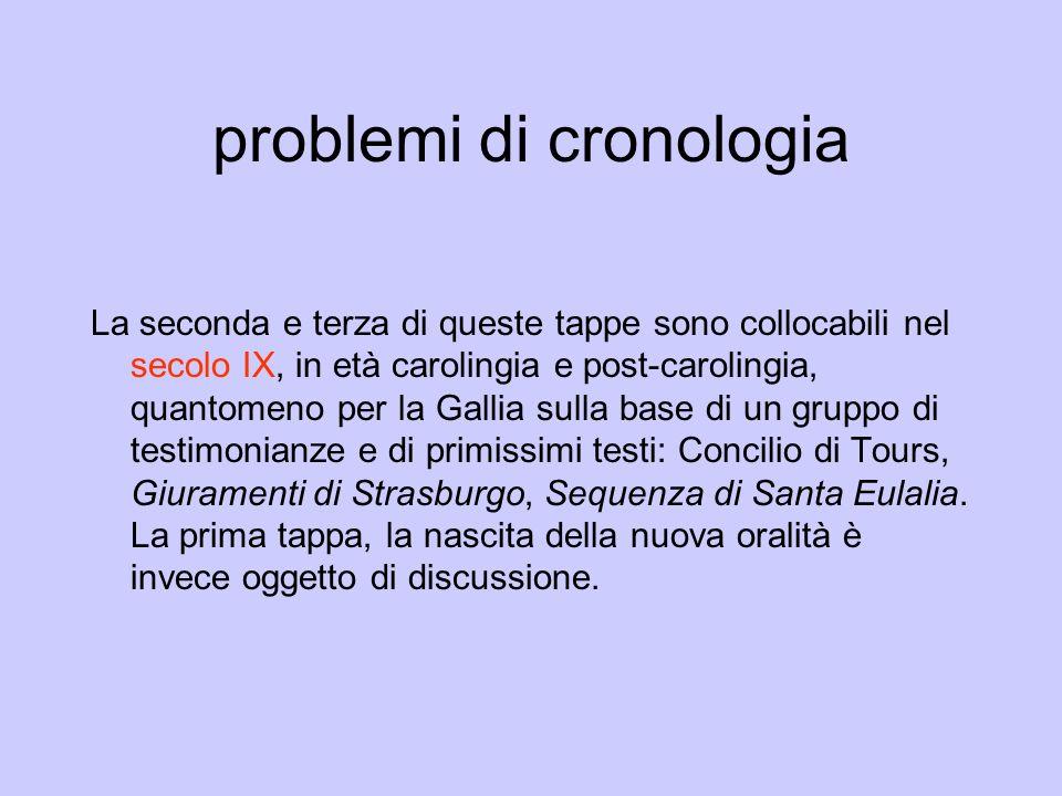 problemi di cronologia La seconda e terza di queste tappe sono collocabili nel secolo IX, in età carolingia e post-carolingia, quantomeno per la Galli