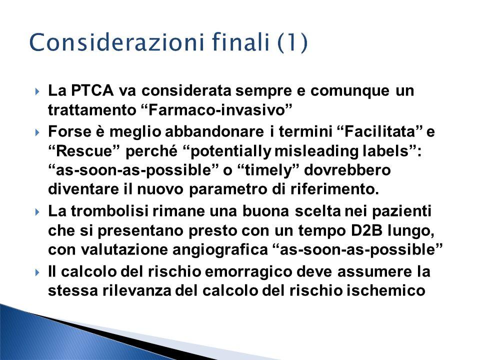 La PTCA va considerata sempre e comunque un trattamento Farmaco-invasivo Forse è meglio abbandonare i termini Facilitata e Rescue perché potentially m