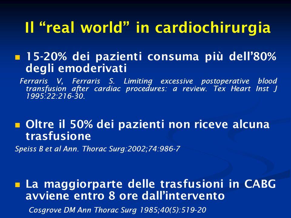 Emotrasfusioni ed outcomes Mortalità post-op.