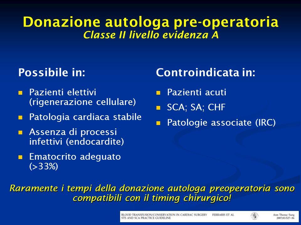 Donazione autologa pre-operatoria Classe II livello evidenza A Possibile in: Pazienti elettivi (rigenerazione cellulare) Patologia cardiaca stabile As