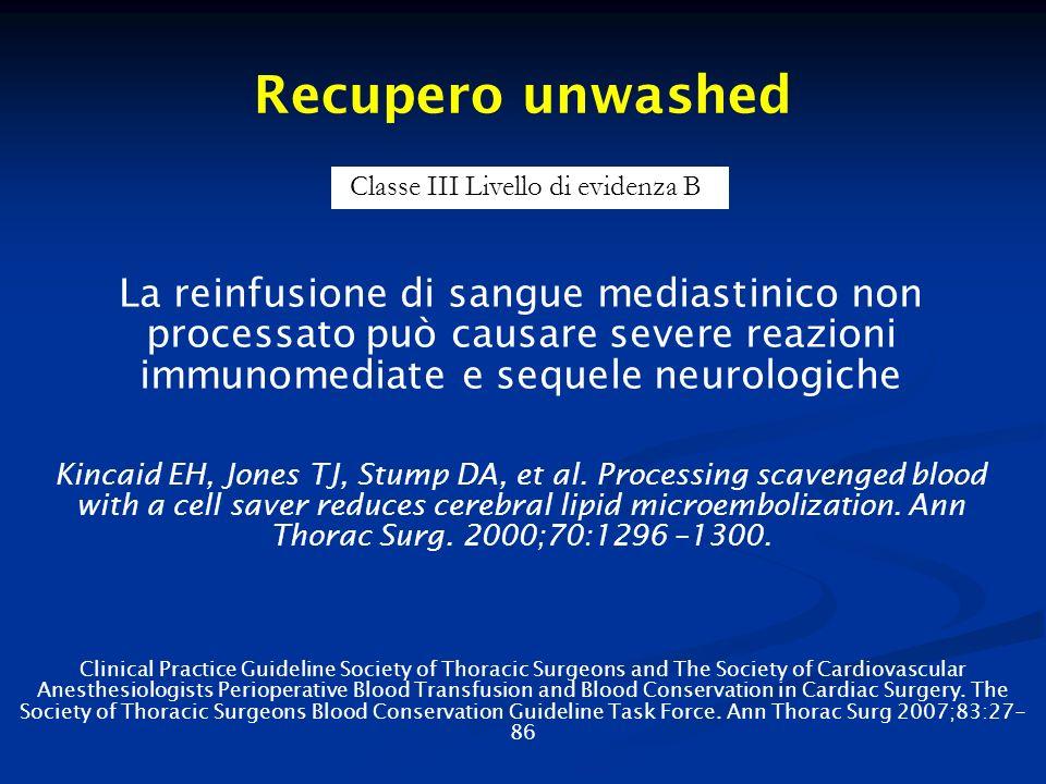 Recupero unwashed La reinfusione di sangue mediastinico non processato può causare severe reazioni immunomediate e sequele neurologiche Kincaid EH, Jo