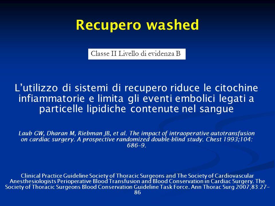 Recupero washed Lutilizzo di sistemi di recupero riduce le citochine infiammatorie e limita gli eventi embolici legati a particelle lipidiche contenut