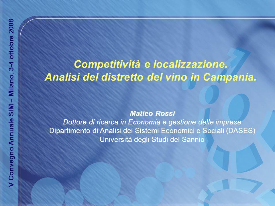 Competitività e localizzazione. Analisi del distretto del vino in Campania. Matteo Rossi Dottore di ricerca in Economia e gestione delle imprese Dipar