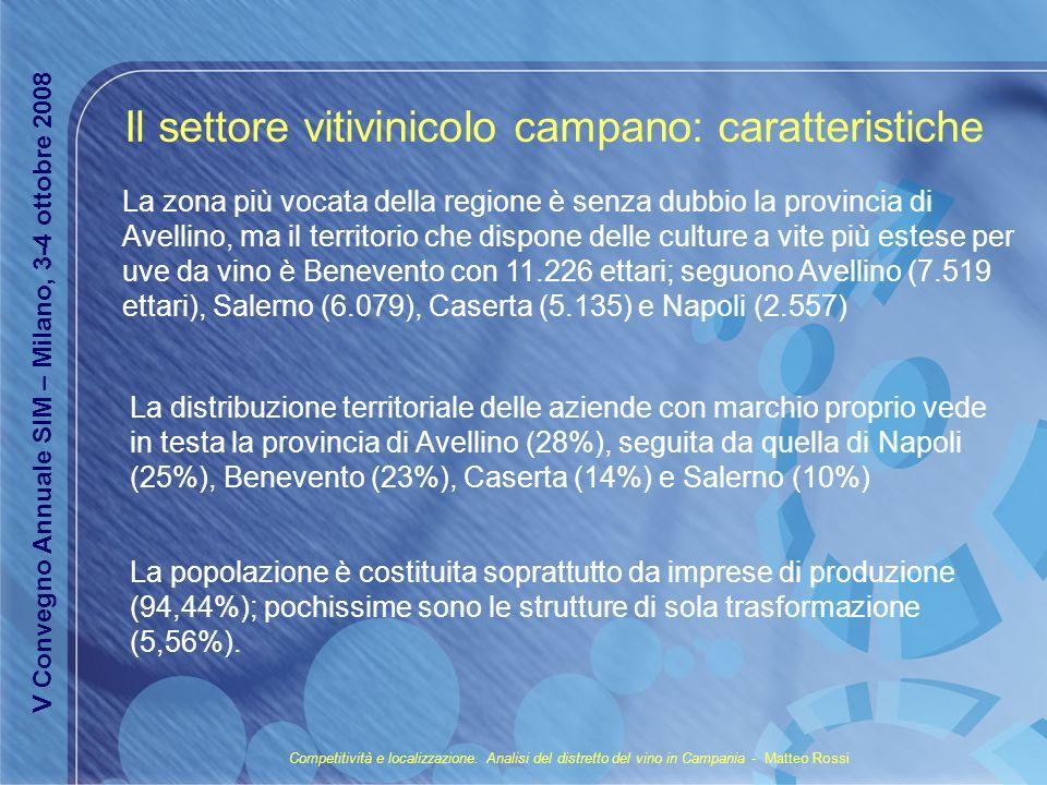 La zona più vocata della regione è senza dubbio la provincia di Avellino, ma il territorio che dispone delle culture a vite più estese per uve da vino