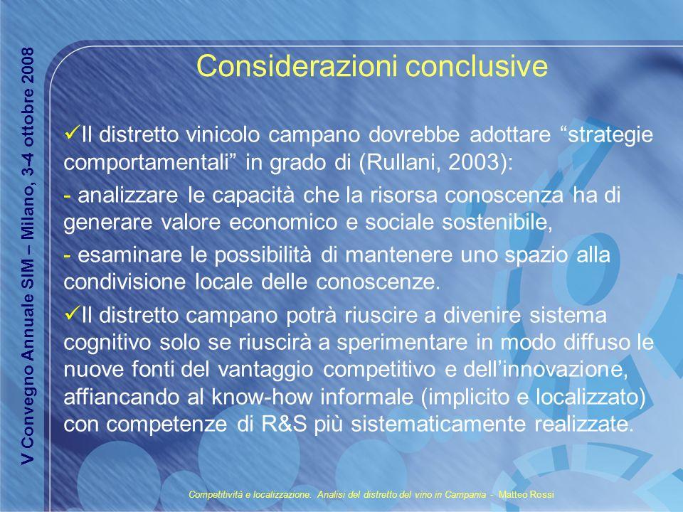 Considerazioni conclusive Il distretto vinicolo campano dovrebbe adottare strategie comportamentali in grado di (Rullani, 2003): - analizzare le capac