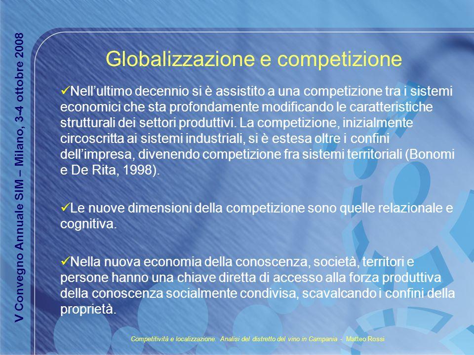 Il ruolo del territorio nella nuova competizione globale Al territorio viene riconosciuta una nuova centralità nelle dinamiche produttive: da contenitore diviene accumulatore.