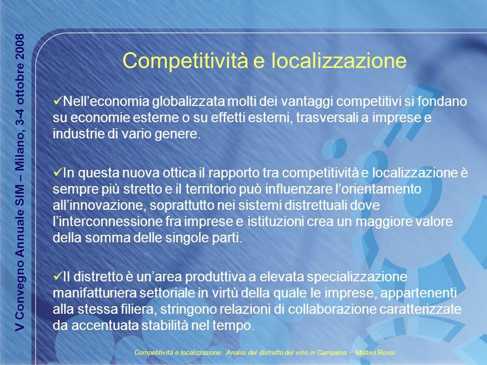 Competitività e localizzazione Nelleconomia globalizzata molti dei vantaggi competitivi si fondano su economie esterne o su effetti esterni, trasversa