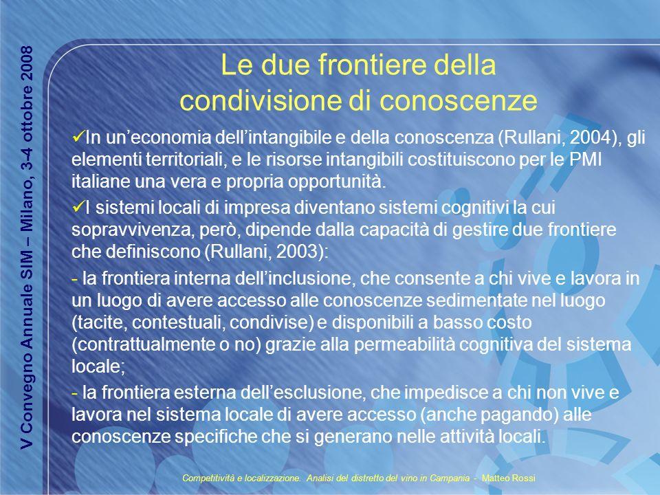 Le due frontiere della condivisione di conoscenze In uneconomia dellintangibile e della conoscenza (Rullani, 2004), gli elementi territoriali, e le ri