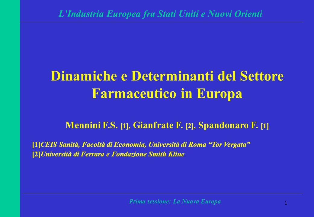 12 LIndustria Europea fra Stati Uniti e Nuovi Orienti Prima sessione: La Nuova Europa 1985199019951998 EU2,332,002,072,12 USA1,62 1,150,88 Export/Inport ratio prodotti farmaceutici