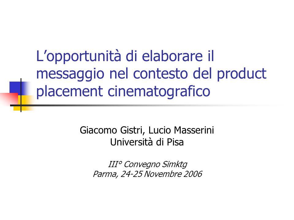 Lopportunità di elaborare il messaggio nel contesto del product placement cinematografico Giacomo Gistri, Lucio Masserini Università di Pisa III° Conv