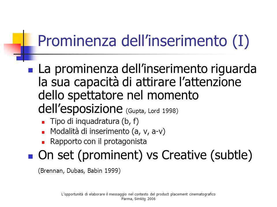 Lopportunità di elaborare il messaggio nel contesto del product placement cinematografico Parma, Simktg 2006 Prominenza dellinserimento (I) La promine