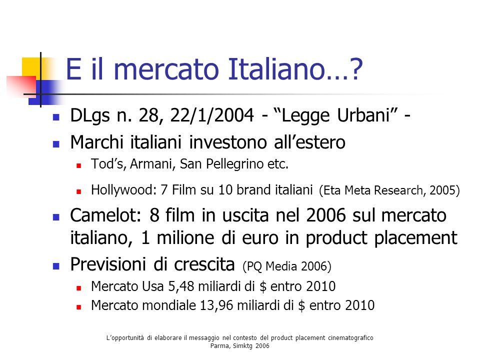 Lopportunità di elaborare il messaggio nel contesto del product placement cinematografico Parma, Simktg 2006 E il mercato Italiano…? DLgs n. 28, 22/1/
