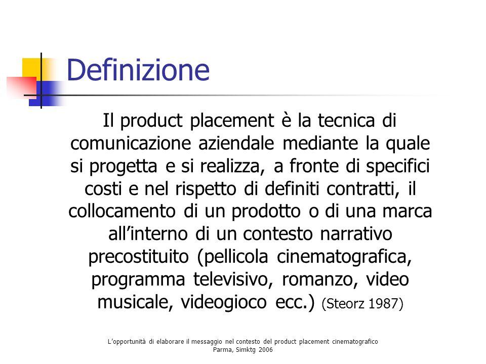 Lopportunità di elaborare il messaggio nel contesto del product placement cinematografico Parma, Simktg 2006 Definizione Il product placement è la tec
