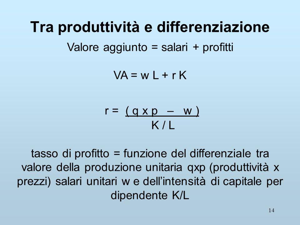 14 Tra produttività e differenziazione Valore aggiunto = salari + profitti VA = w L + r K r = ( q x p – w ) K / L tasso di profitto = funzione del differenziale tra valore della produzione unitaria qxp (produttività x prezzi) salari unitari w e dellintensità di capitale per dipendente K/L