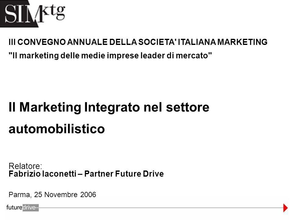 Parma, 25 Novembre 2006 Relatore: Fabrizio Iaconetti – Partner Future Drive III CONVEGNO ANNUALE DELLA SOCIETA' ITALIANA MARKETING