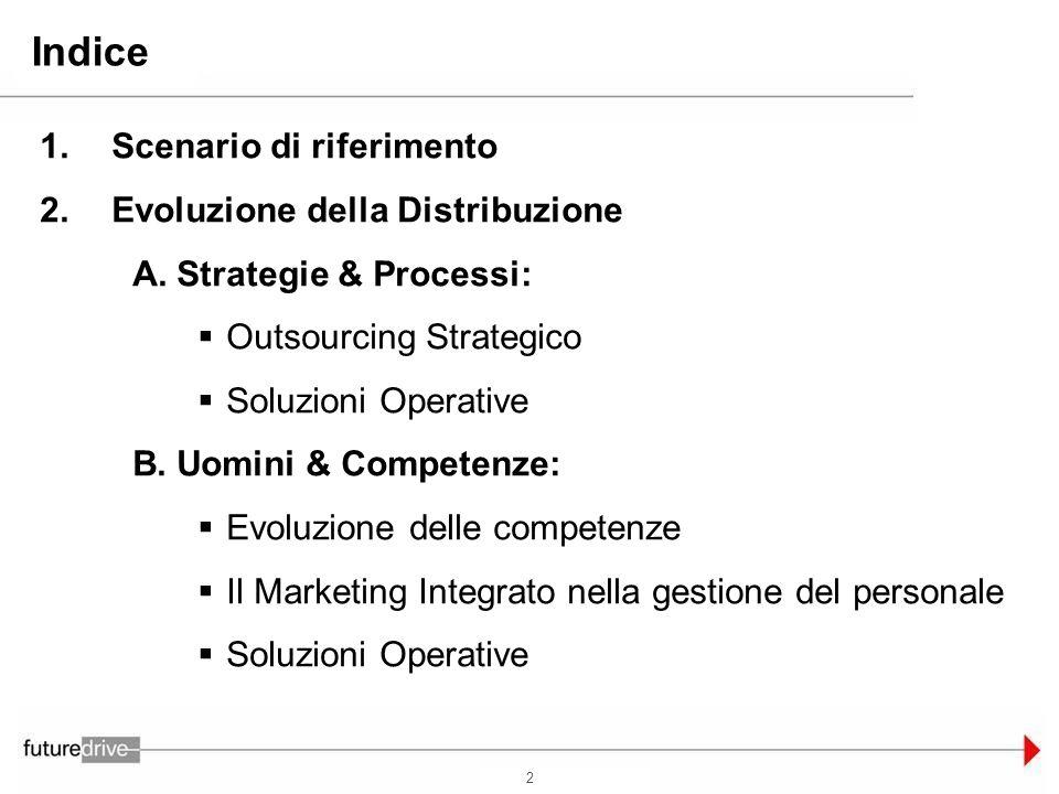 2 Indice Scenario di riferimento Evoluzione della Distribuzione Strategie & Processi: Outsourcing Strategico Soluzioni Operative Uomini & Competenze: