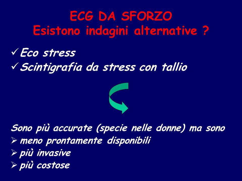 ECG DA SFORZO Esistono indagini alternative ? Eco stress Scintigrafia da stress con tallio Sono più accurate (specie nelle donne) ma sono meno prontam