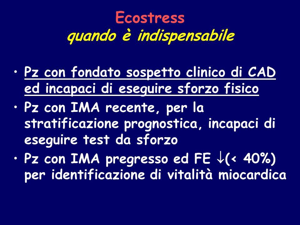 Ecostress quando è indispensabile Pz con fondato sospetto clinico di CAD ed incapaci di eseguire sforzo fisico Pz con IMA recente, per la stratificazi