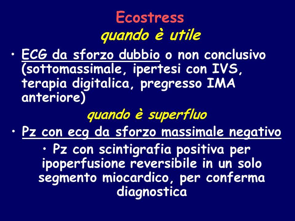 Ecostress quando è utile ECG da sforzo dubbio o non conclusivo (sottomassimale, ipertesi con IVS, terapia digitalica, pregresso IMA anteriore) quando
