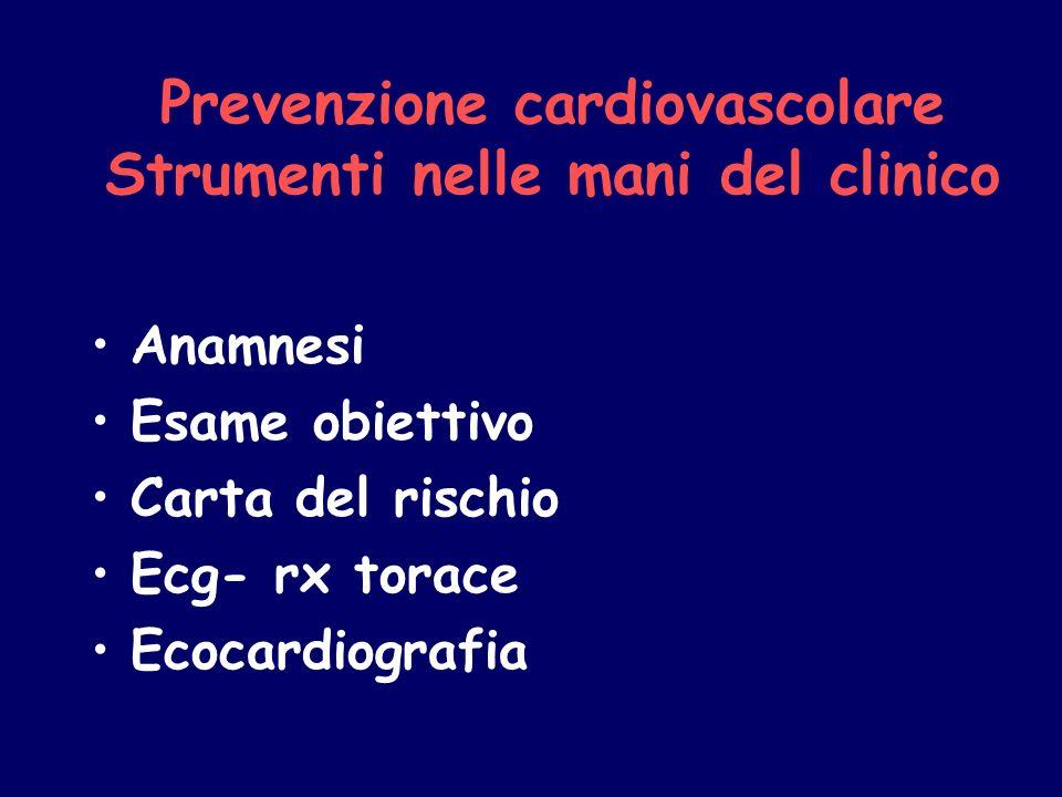 Prevenzione cardiovascolare Strumenti nelle mani del clinico Anamnesi Esame obiettivo Carta del rischio Ecg- rx torace Ecocardiografia