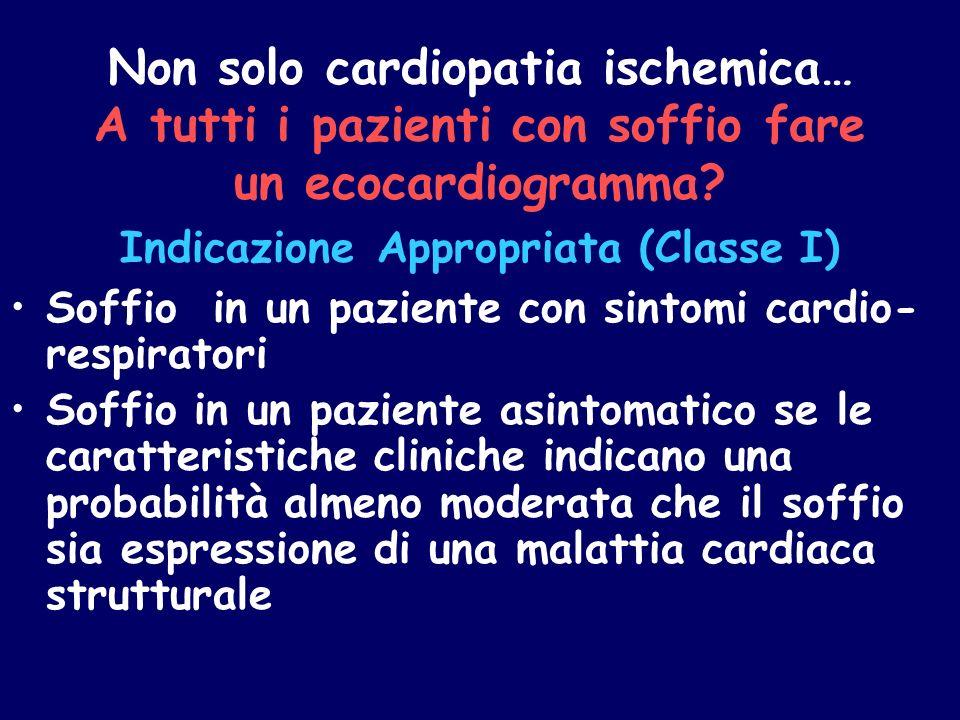 Non solo cardiopatia ischemica… A tutti i pazienti con soffio fare un ecocardiogramma? Indicazione Appropriata (Classe I) Soffio in un paziente con si