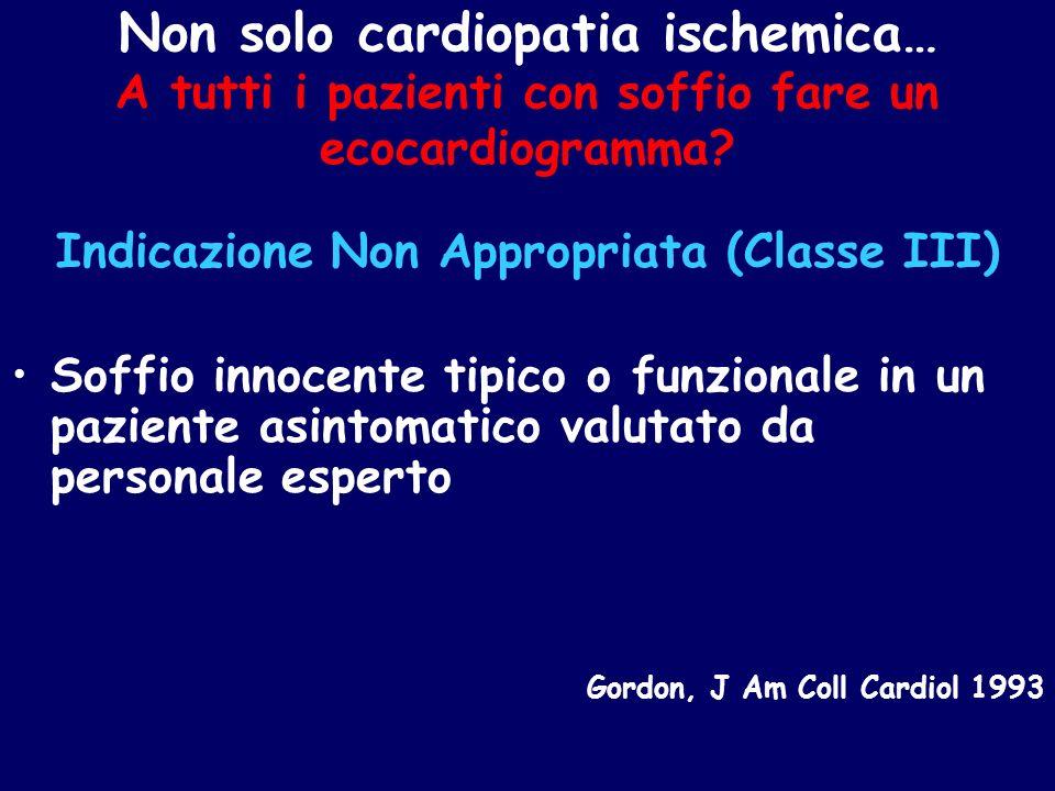 Non solo cardiopatia ischemica… A tutti i pazienti con soffio fare un ecocardiogramma? Indicazione Non Appropriata (Classe III) Soffio innocente tipic