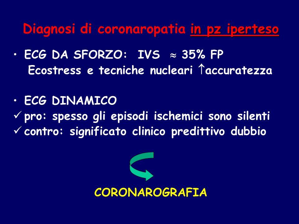 in pz iperteso Diagnosi di coronaropatia in pz iperteso ECG DA SFORZO: IVS 35% FP Ecostress e tecniche nucleari accuratezza ECG DINAMICO pro: spesso g