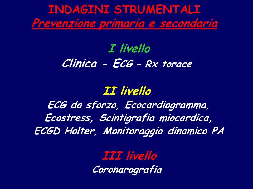 INDAGINI STRUMENTALI Prevenzione primaria e secondaria I livello Clinica - E CG – Rx torace II livello ECG da sforzo, Ecocardiogramma, Ecostress, Scin