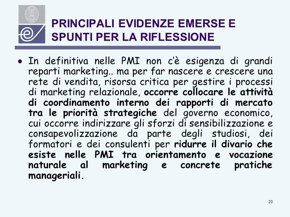 20 PRINCIPALI EVIDENZE EMERSE E SPUNTI PER LA RIFLESSIONE In definitiva nelle PMI non cè esigenza di grandi reparti marketing.. ma per far nascere e c