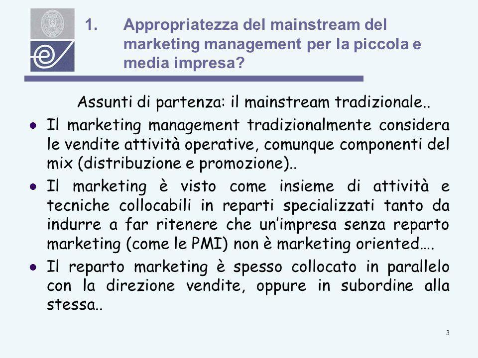 4 1.Appropriatezza del mainstream del marketing management per la piccola e media impresa.