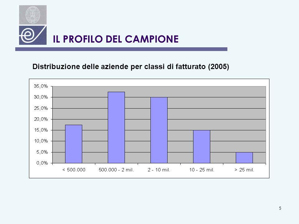 5 IL PROFILO DEL CAMPIONE Distribuzione delle aziende per classi di fatturato (2005)